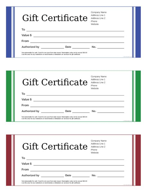 2018 gift certificate form fillable printable pdf