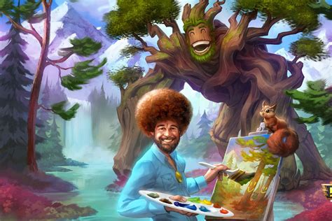 bob ross painting holidays uk bob ross will be playable in smite complete with happy