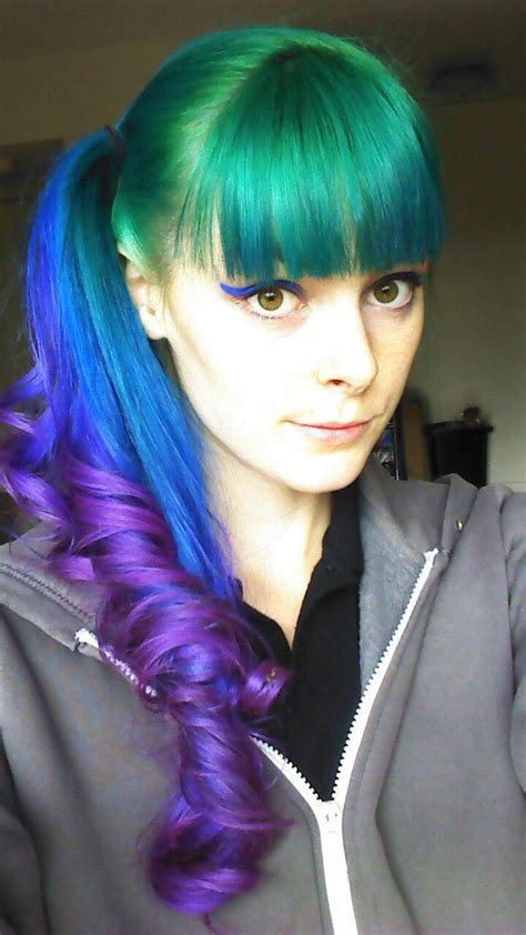 hair green blue pretty green blue and purple ponytail with bangs hair