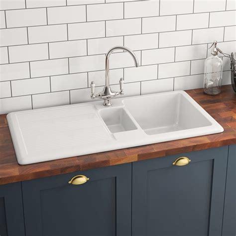 Drainer Ceramic Kitchen Sinks by Butler 1 5 Bowl White Ceramic Kitchen Sink With