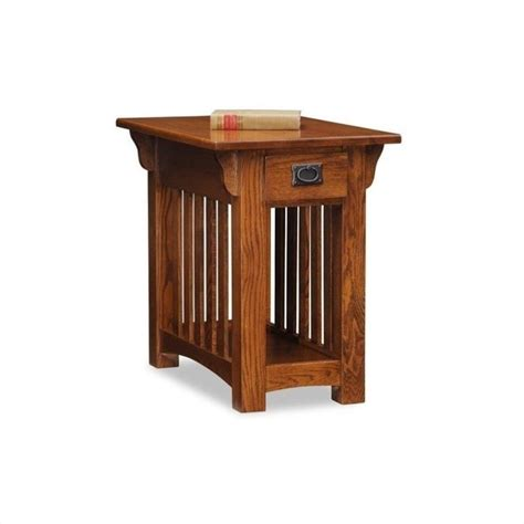 chairside end table with drawers leick furniture mission chairside w storage drawer shelf
