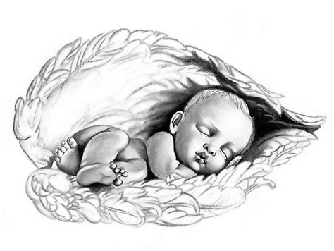 drawing  sleeping angel baby lauren eldridge murray