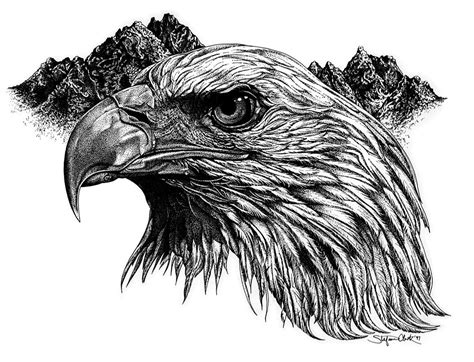 eagle head tattoo realistic black and white eagle on mountains