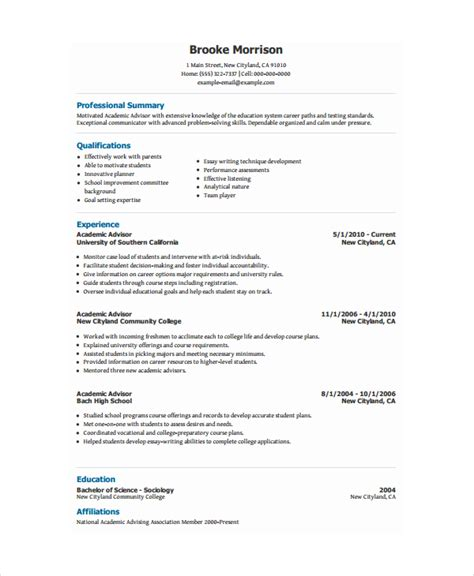 cv format academic academic resume template 6 free word pdf document