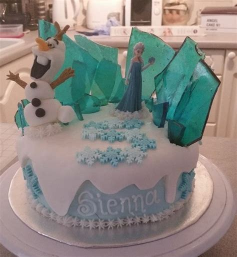 frozen cake made olaf and sugar glass cakecentral