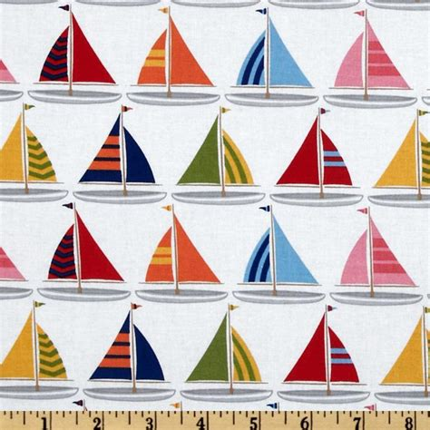 Sailboat Quilt Fabric by Michael Miller Shore Thing Sailboats Sailor White