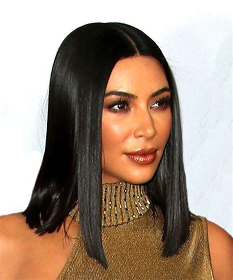 Kim Kardashian Medium Straight Formal Bob Hairstyle   Black