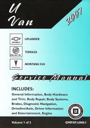 service and repair manuals 2007 chevrolet uplander head up display 2007 chevrolet uplander pontiac montana buick terraza factory service manual