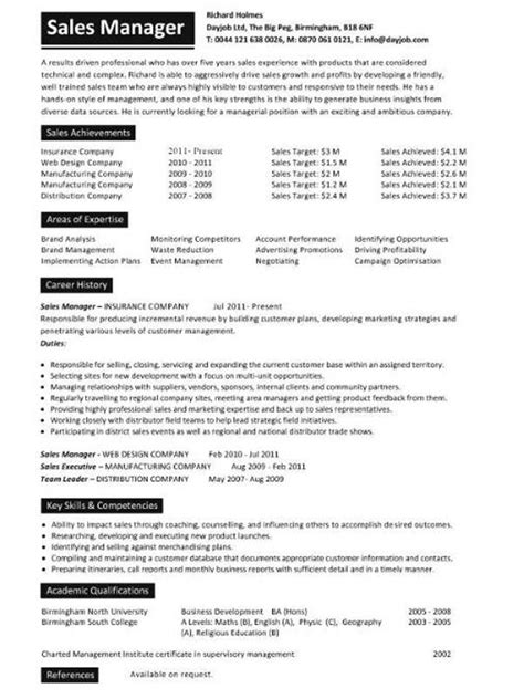 Resume Sles Format Sales Manager Resume Exle