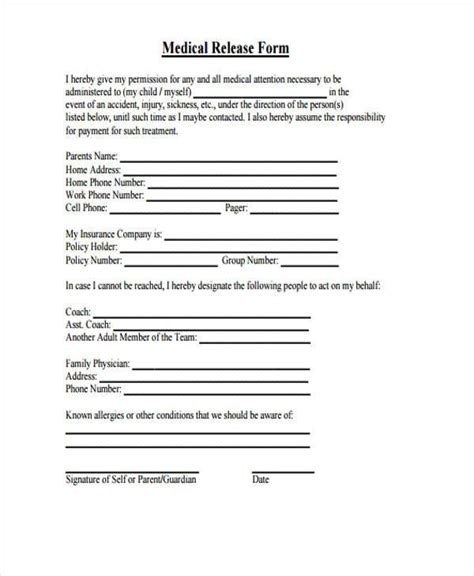 consent letter format for hospital 9 hospital release form sles free sle exle