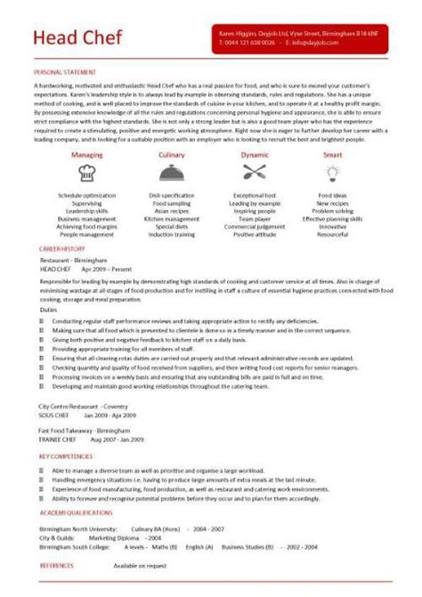 head chef resume templates examples job description