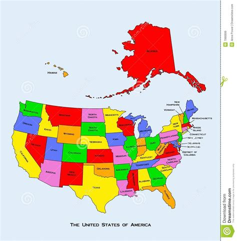 united states map of america map of the united states of america stock illustration