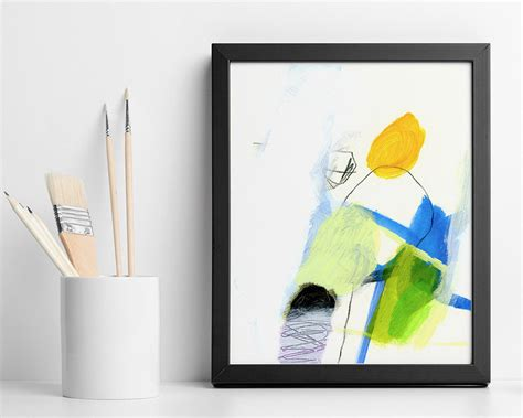 acrylic painting gifts abstract painting original small acrylic painting yellow and