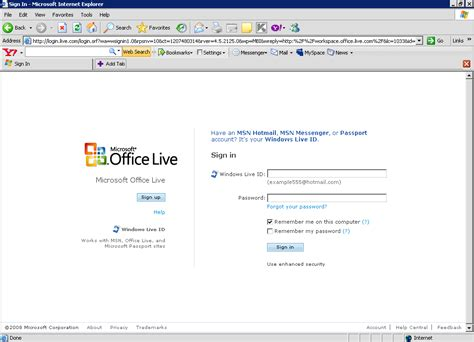microsoft office live workspace your office