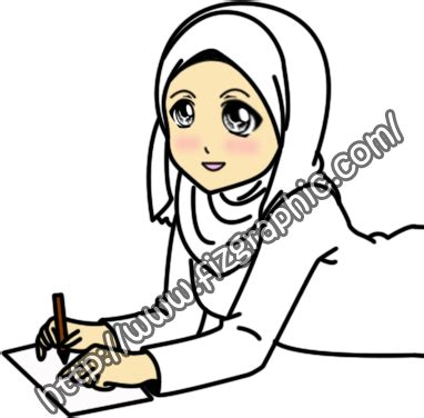 Fizgraphic Freebies Doodle Muslimah Menulis