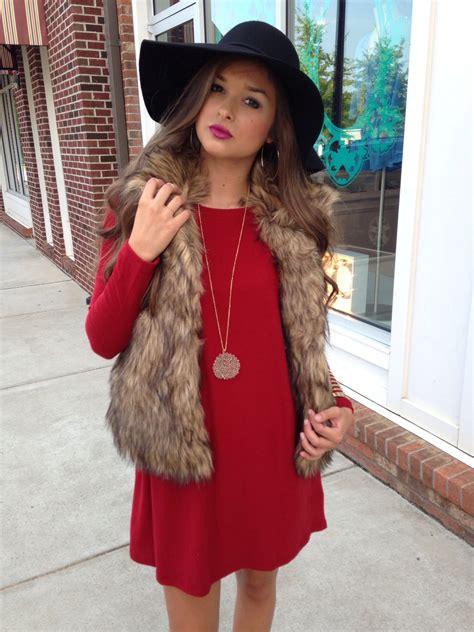 with fur vest sleeve dress and fur vest c u t e o u t f i t s in