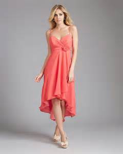 Chiffon spaghetti strap high low hem a line bridesmaid dress b1ae0023