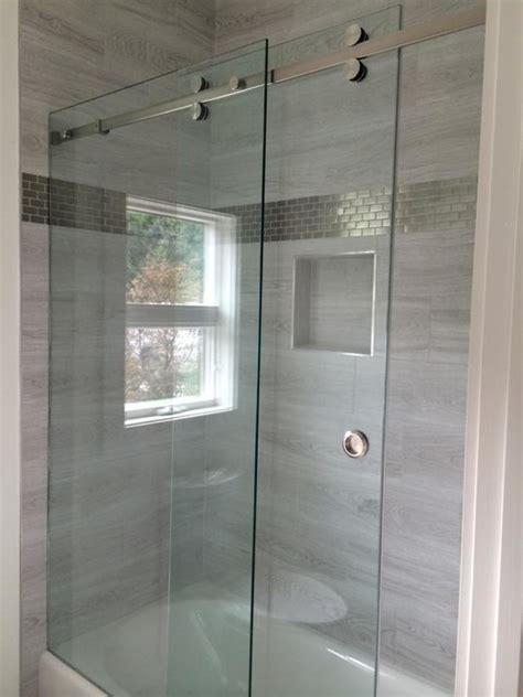Frameless Sliding Shower Enclosures Modern Bathroom Modern Glass Shower Doors
