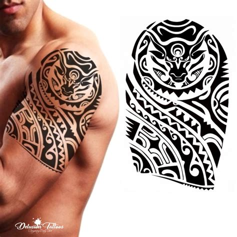 maori tattoo for men tribal temporary polynesian bull maori shoulder