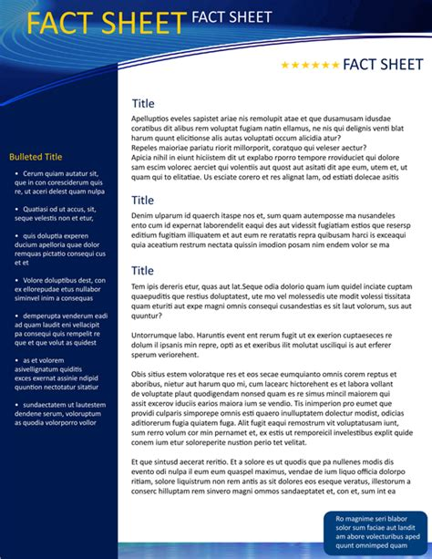 fact sheet template word free fact sheet template
