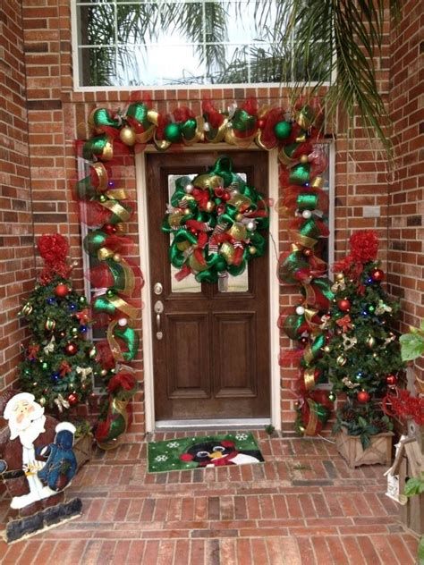 Deco Mesh Garland For The Front Door Wreaths Christmas Front Door Garland