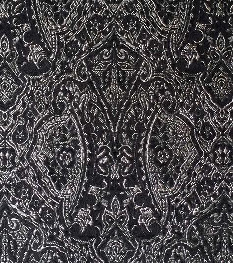 Black Brocade brocade fabric brocade paisley black silver metallic jo