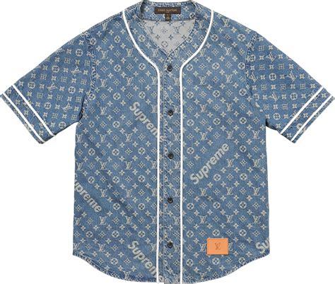 Louis Vuitton Kd supreme louis vuitton supreme jacquard denim baseball jersey