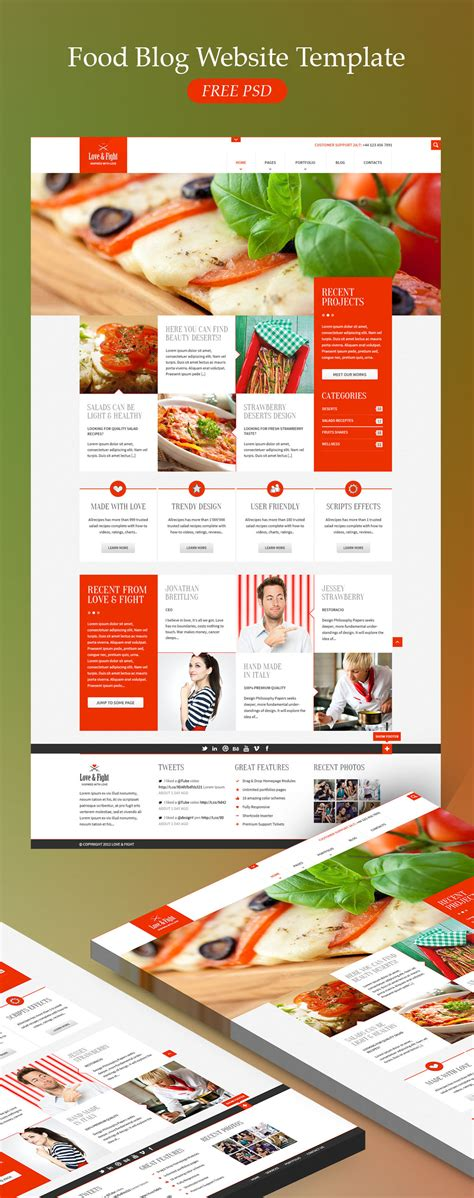 food template psd food website template free psd at downloadfreepsd