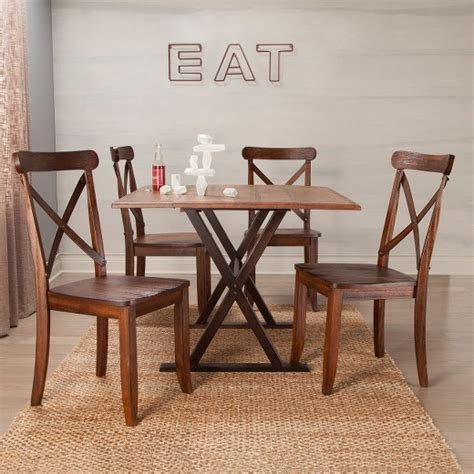 drop leaf rustic 40 quot dining table brown threshold target