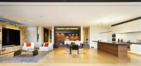 kitchen and lounge of house design with