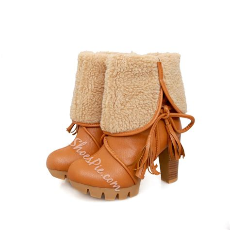 Chunky Heel Snow Boots shoespie chunky heel ankle snow boots shoespie