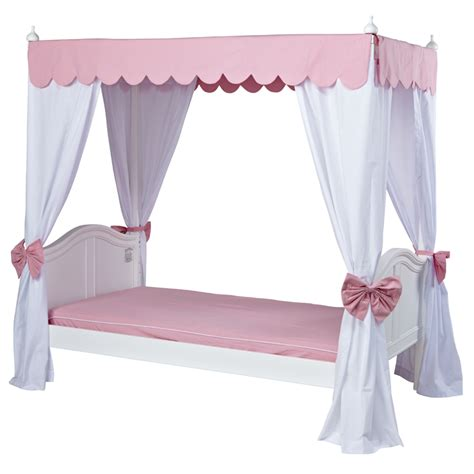 goldilocks poster bed with pink scallop canopy and curtains