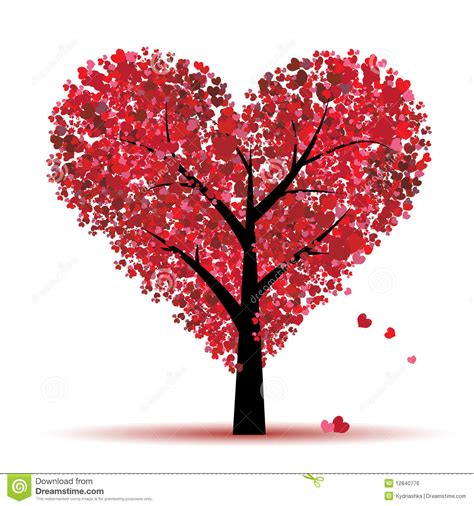 images of love tree valentine tree love leaf from hearts stock vector