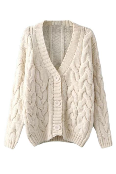 cable knit sweater cardigan beige white warm womens cable knit vintage plain cardigan
