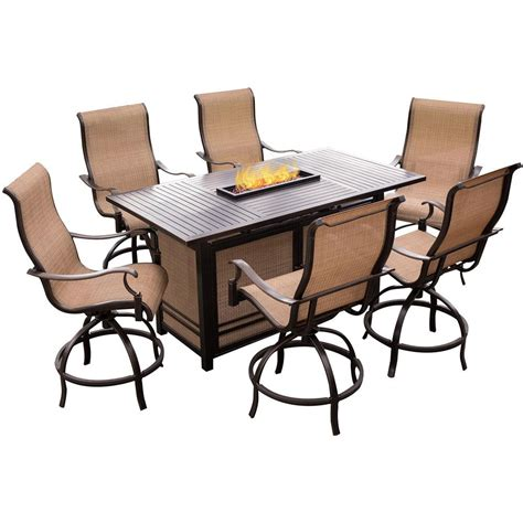 high top table with swivel chairs hanover monaco 7 aluminum outdoor high dining set