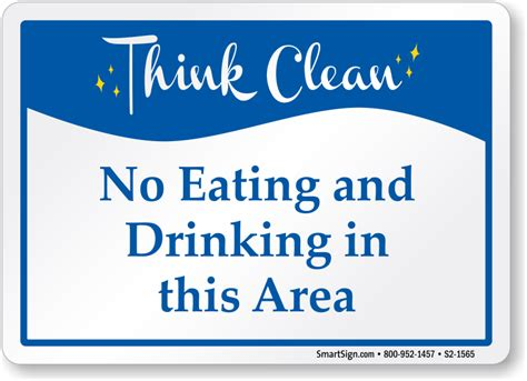 eating and drinking area safety signs signstoyou com no eating and drinking area think clean sign sku s2 1565