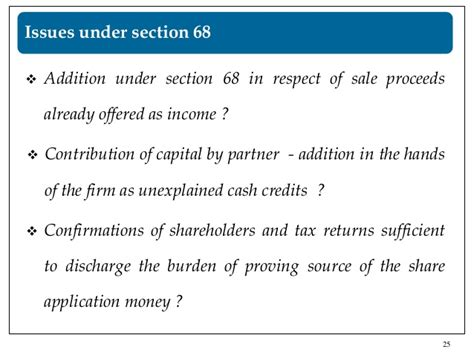 section 25 of income tax act issues in cash transactions under the income taxt act 1961