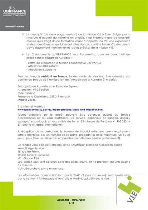 Lettre Demande De Visa En Anglais vie australie visa 406