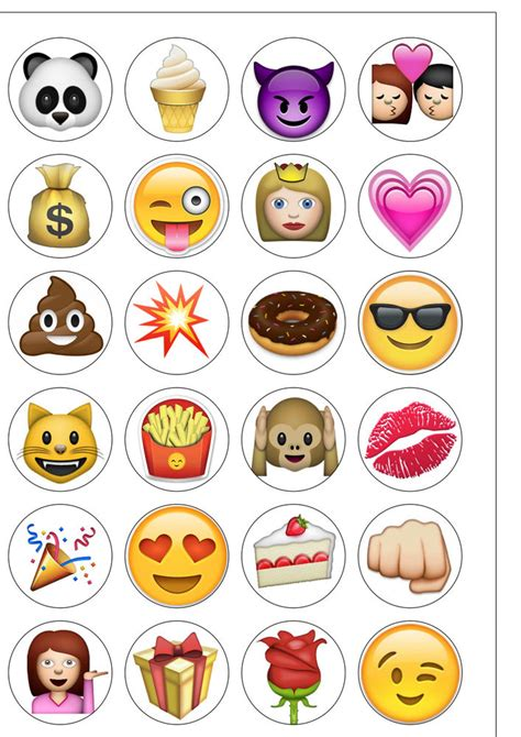 cupcake emoji for iphone 24 pre cut iphone emoji edible wafer paper cupcake toppers ebay