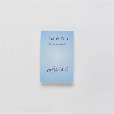 Gift Thank You Card - gift aid thank you card for donations received