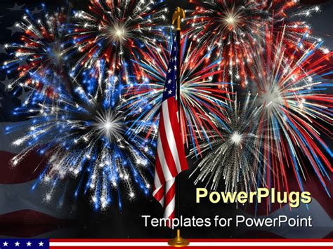Powerpoint Template Red White And Blue Fireworks Behind American Flag 12339 Fireworks Powerpoint Animation
