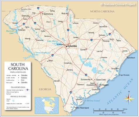 map usa carolina map of south usa