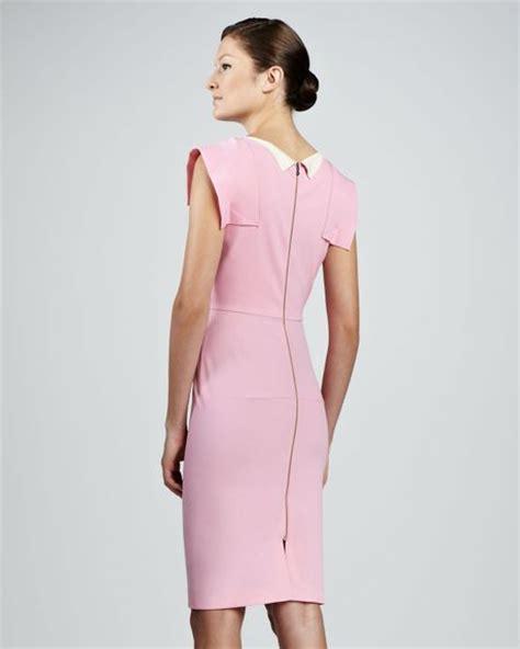 Roland Mouret Cap Sleeve Sheath Dress Light Pink In Pink