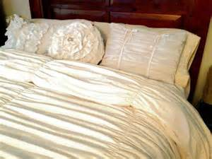 white shabby chic bedding white gathered king duvet cover and ruffle pillow set