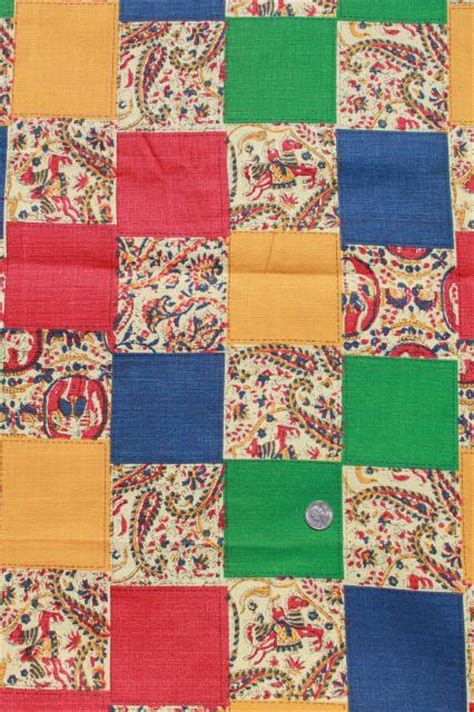 Material Patchwork - retro patchwork print vintage cotton fabric lightweight