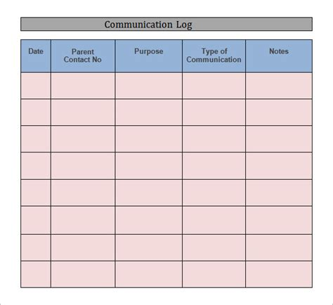 communication log template free communication log template 8 free pdf doc