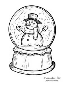 Vintage Fourth Of July Decorations Winter Snow Globe With Snowman Coloring Page Print