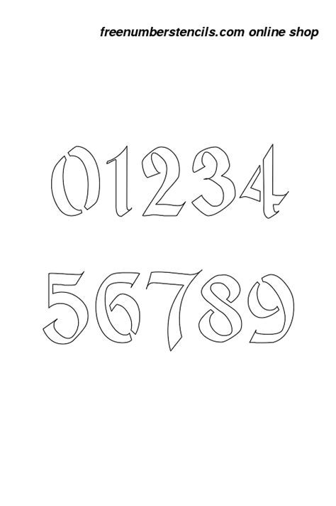 Printable Calligraphy Number Stencils | 1 inch gothic calligraphy calligraphy style number