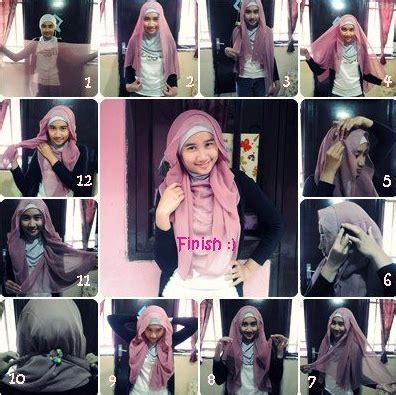 Kreasi Cara Berjilbab Segi Empat cara memakai jilbab segi empat kreasi