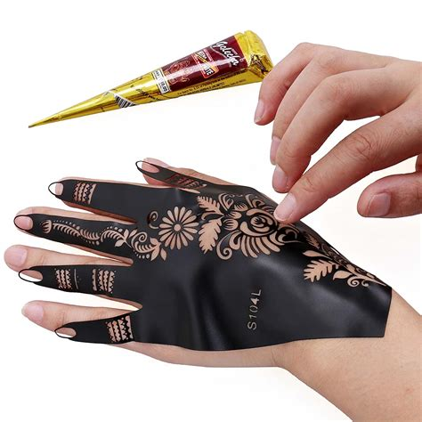 henna tattoo equipment bmc 14pc mehndi henna starter kit 2 color cones w